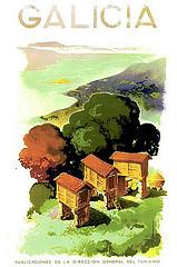 Cartel turístico promoviendo Galicia como destino de vacaciones (1941).